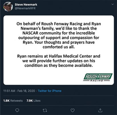 Statement about  Ryan Newman's crash issued by President of Roush Fenway Racing Steve Newmark