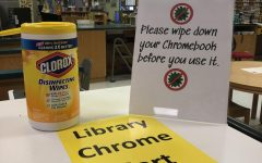 PLD Librarian Mrs. Summer Perry said that she decided to provide Clorox wipes at the library Chromebooks station so students can sanitize before and after each use.