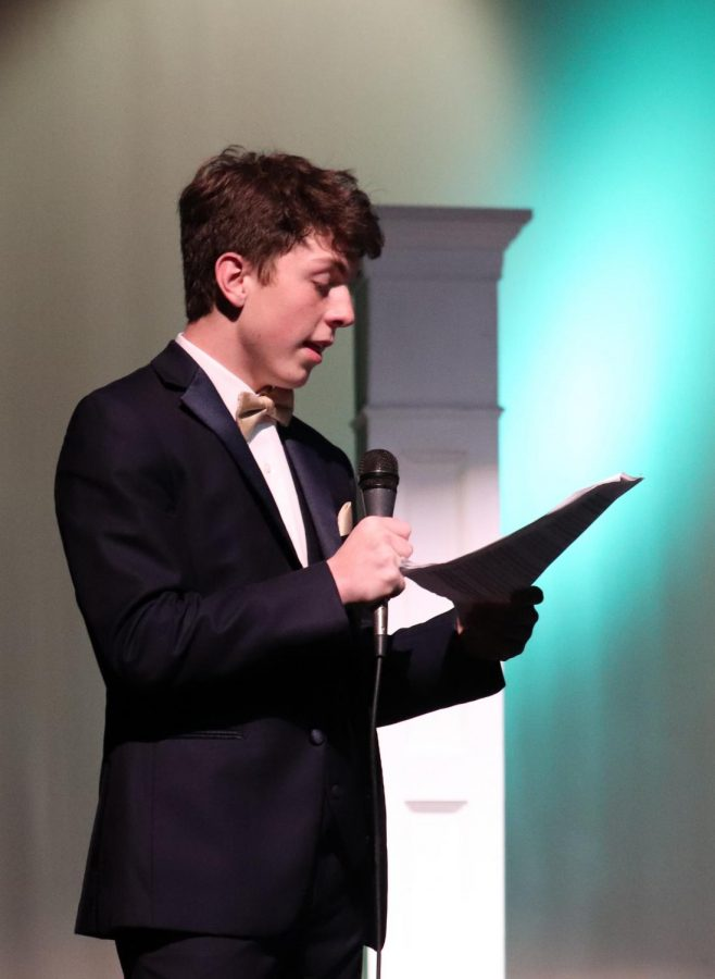 Senior Matthew Nichols emceed the Prom Fashion Show at PLD High School on March 10. He also performed in the show and walked the runway in his tux provided by Geno's.