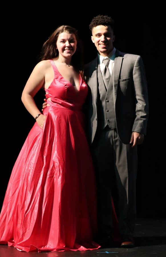 Junior Gracie Moore and Senior Jacob Greene partnered up for the runway on March 10 for PLD's Prom Fashion Show. Wide skirts are in fashion this season.