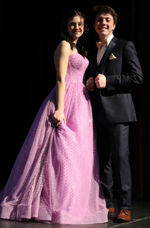 Lola Campbell partnered with senior Matthew Nichols at the 2020 Prom Fashion Show at Dunbar. Campbell's dress was a fan favorite.