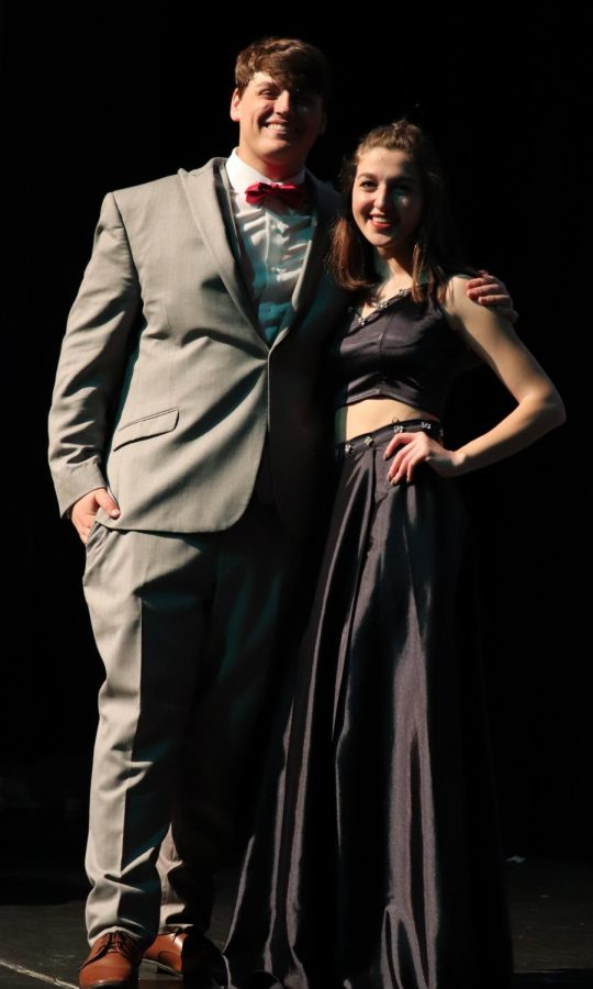 Sophomore Caden Carter and his partner on the runway modeled some of the latest in Prom fashion.