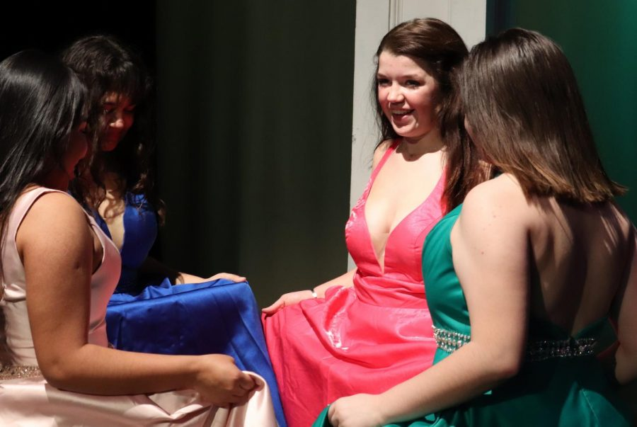 Girls from Dunbar's Musical Theater classes participated in the annual Prom Fashion Show on March 10. Many of the latest fashion trends including bold colors and backless dresses were featured.