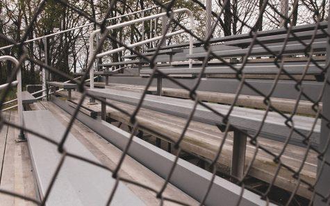 The empty bleachers of the Dunbar baseball field.