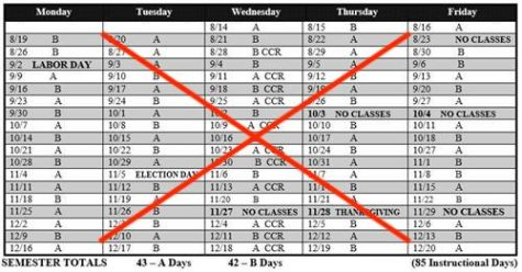 The proposed change would alter Dunbars longstanding A/B block schedule.