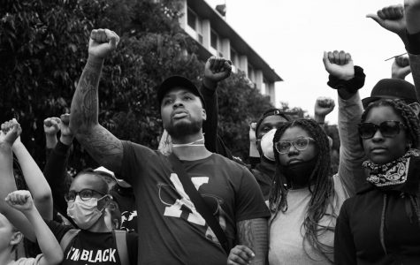 Damian Lillard of the Portland Trail Blazers, seen protesting in Portland Oregon.