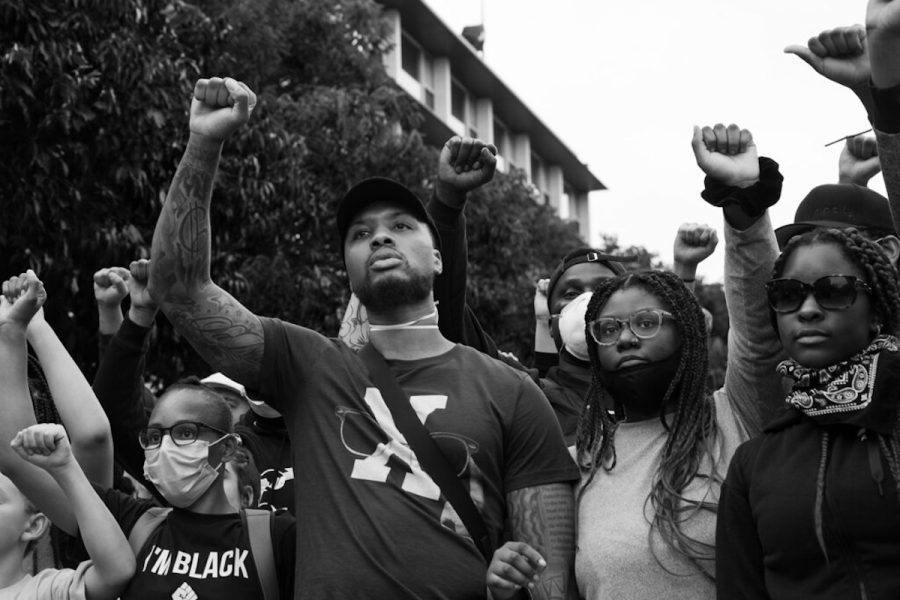 Damian Lillard of the Portland Trail Blazers, seen protesting in Portland Oregon.