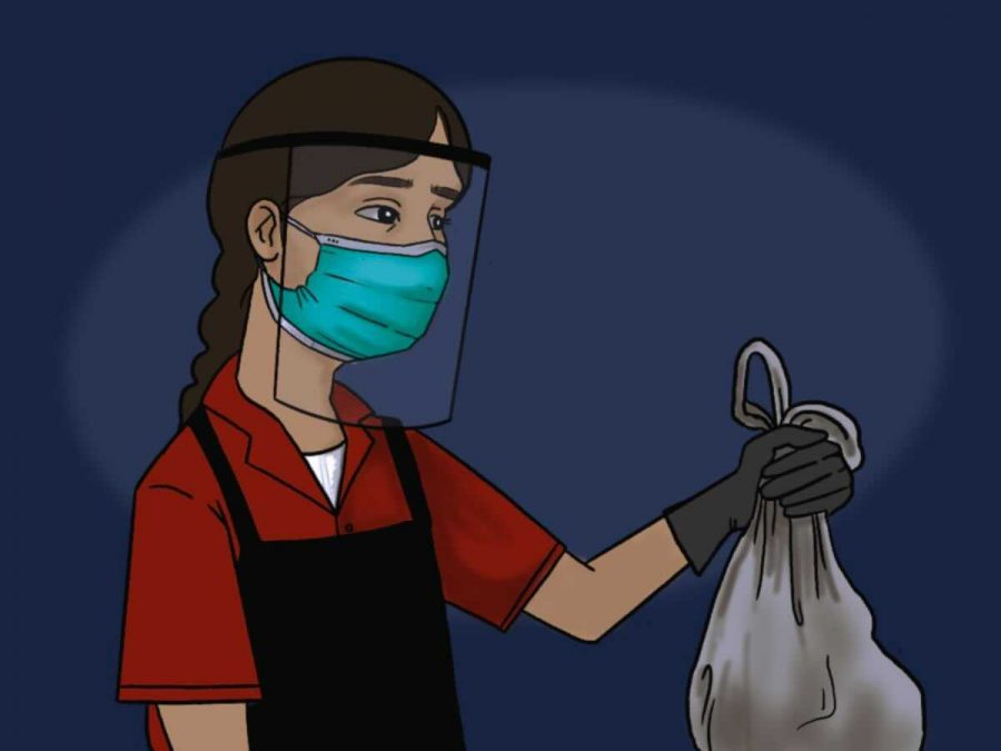 Protective equipment like gloves, masks, and shields is part of the standard outfit for many new teenage workers.