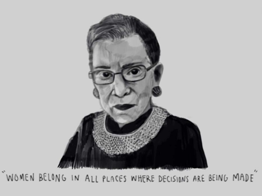 Staff Artist Dylan Stern's portrait of Justice Ginsberg bears one of her most famous quotes--a meaningful statement for women of all ages.