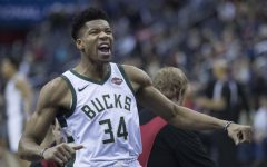 Giannis Antetokounmpo celebrating after a previous win for the Bucks'.