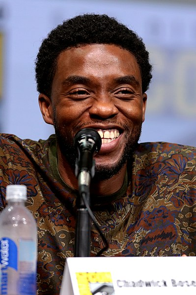 Chadwick Boseman speaking at the 2017 San Diego Comic-Con International, for