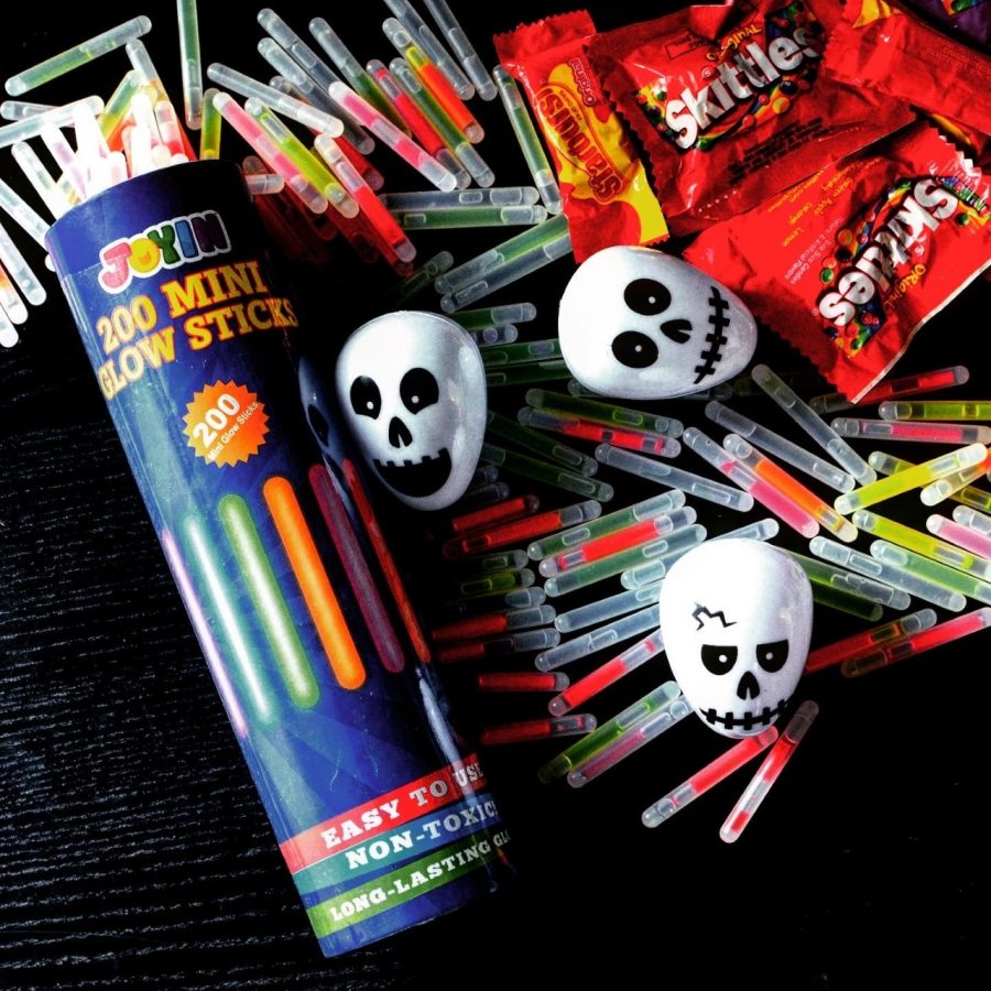 Mrs. Preptit is using skull Easter eggs with mini glow sticks and candy stuffed inside for a haunted house candy hunt with her children.