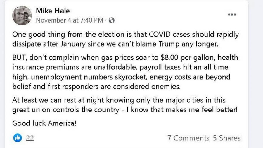 In this Facebook post, Winburn Principal Mike Hale suggests that Biden's election will lead to rising costs and a backlash against law enforcement.