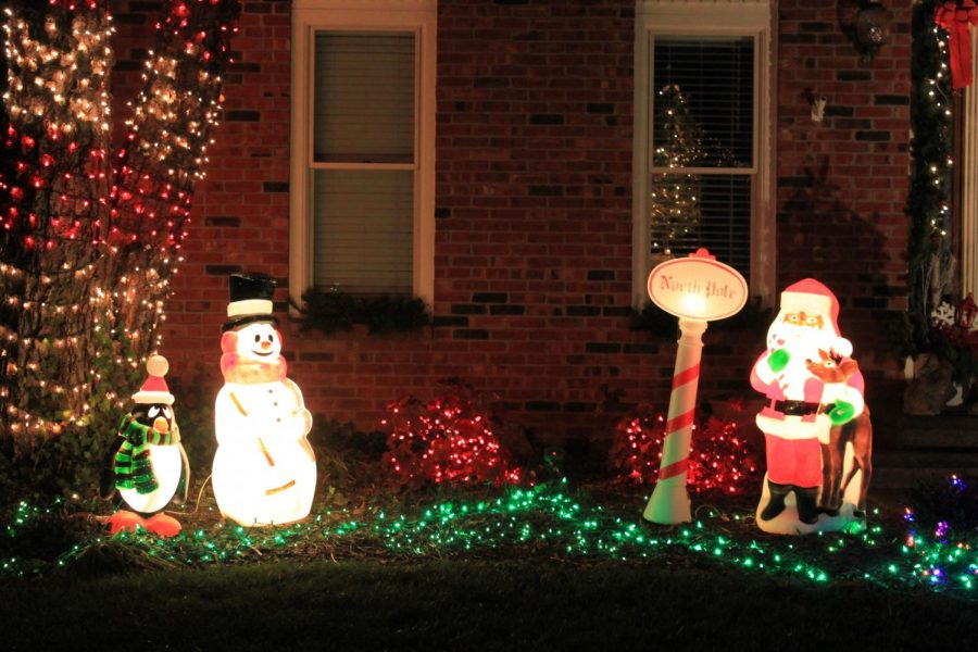 Holiday decorations in a neighbors yard.