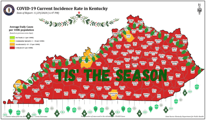 An overwhelming majority of the counties in Kentucky are red. With a little holiday spirit they could turn green.