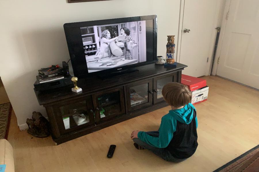 Boy watching Wandavision
