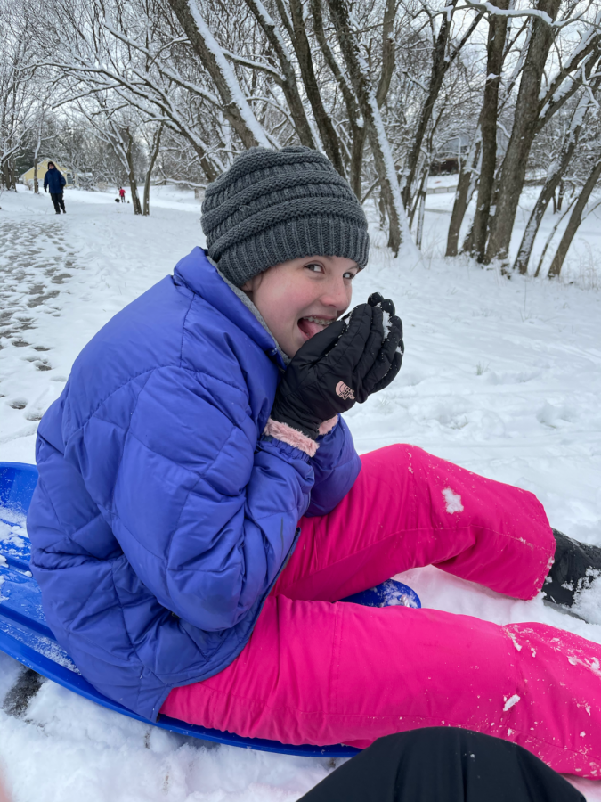 Some students took the opportunity to go sledding with their siblings.