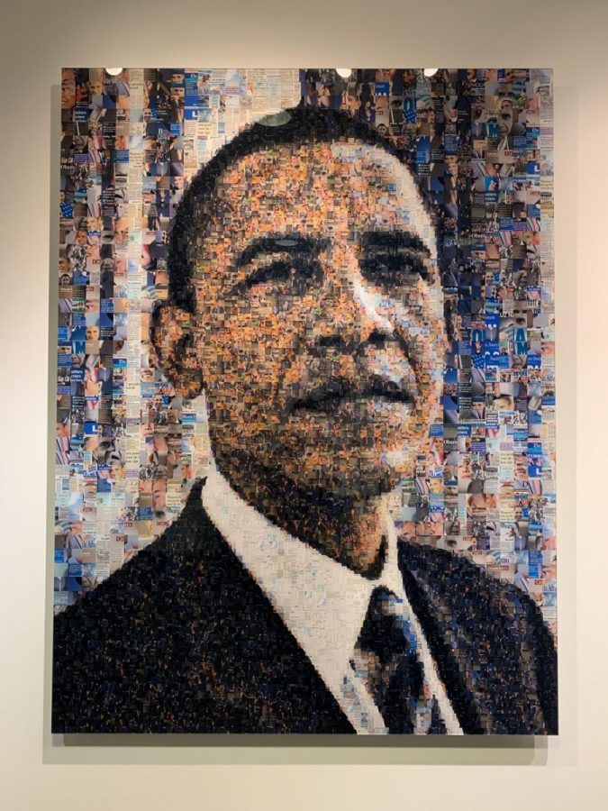 Barack Obama's portrait is made of hundreds of smaller pictures and news clips about him.