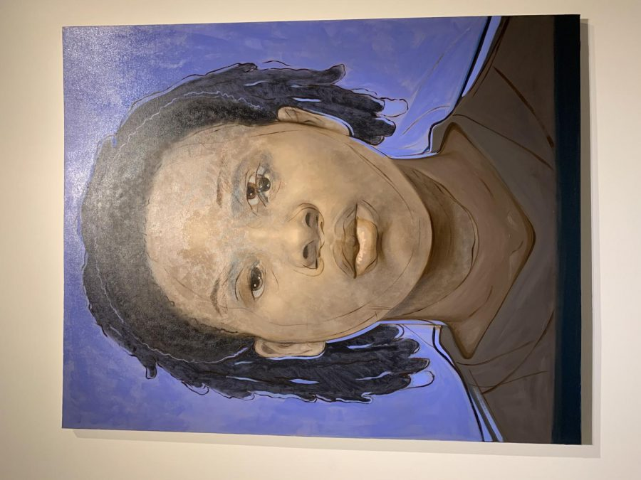 This piece is an accumulation of several real mugshots of black women morphed into one portrait.