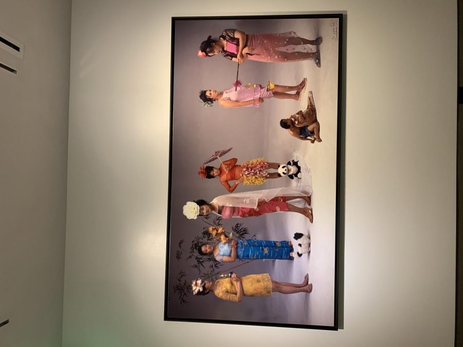New Women portrait in the 21C Hotel Museum. Qingsong Wang stages his models to show the lush life of stereotypical Asian women.