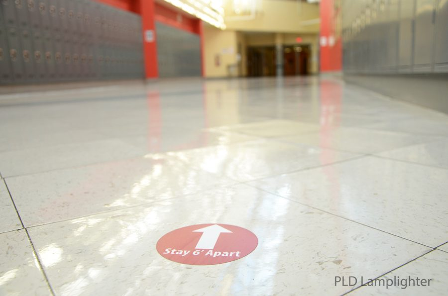 These stay six feet apart stickers are throughout all the halls of Dunbar as a reminder to socially distance so we can keep everyone safe.