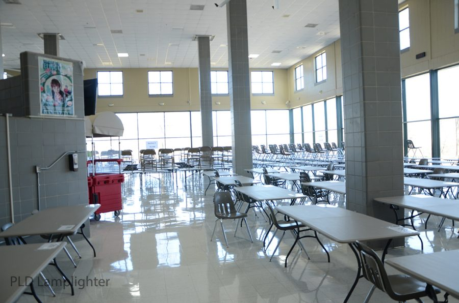 This is the new layout of the Dunbar cafeteria to achieve minimal contact between students. Everyone will be assigned to a chair and will be sitting with one other student.