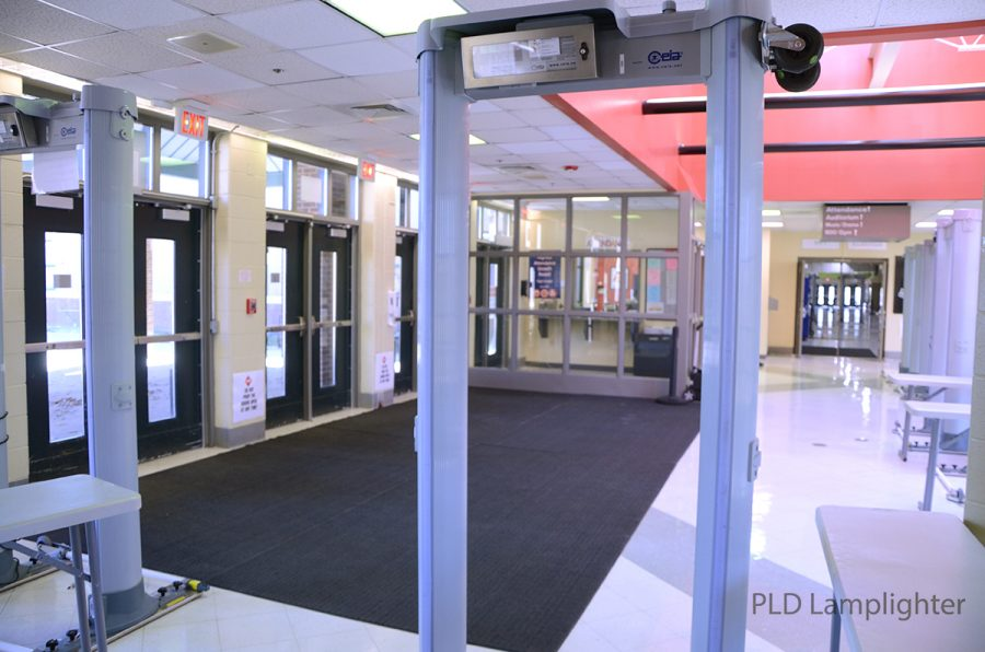Students are required to go through metal detectors when entering the school to help ensure everyones safety.