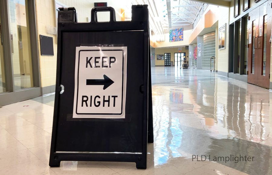Youll find signs like this all over the school as a reminder to stay on the correct side of the hallway for the direction that you are going in order to stay as socially distanced as possible.