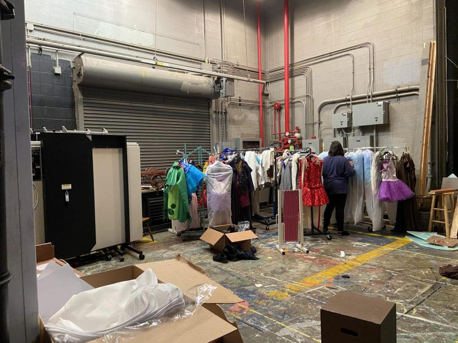 Backstage right, or stage left from the perspective of the audience. Many costumes are stored here.