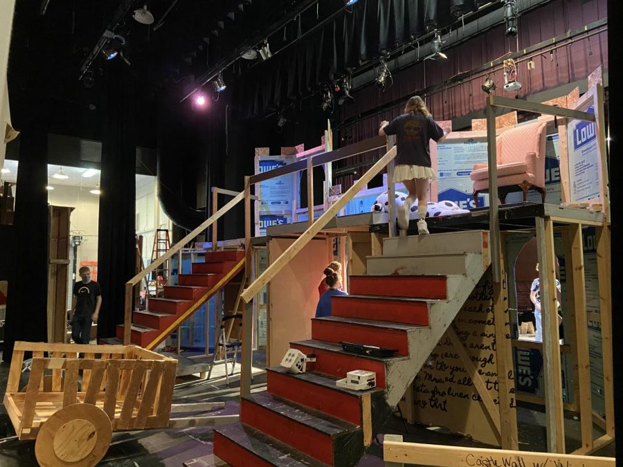 The back of the drama departments castle set for the production of Spamalot. Many of the pieces are reused from past sets.