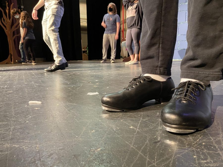 Spamalot has many dances with tap components. Students are provided with tap shoes to learn this style of dance.