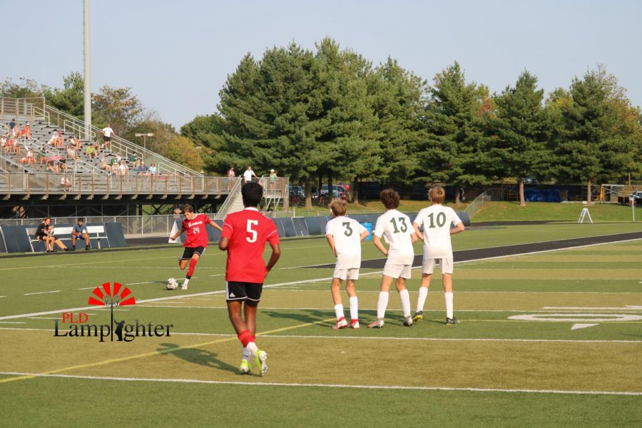 Sophomore William Harper getting a penalty kick for the foul on the other teams player.
